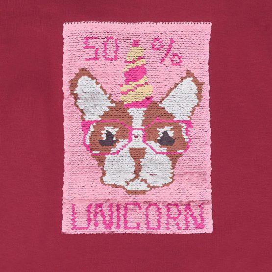 Felpa disegno cane lustrini ragazza