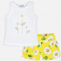 Completo maglietta e shorts fiori bambina