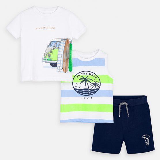 Completo magliette disegno e bermuda bambino